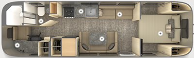 Airstream Flying Cloud 30FB Office interior: starting at US$107,500.