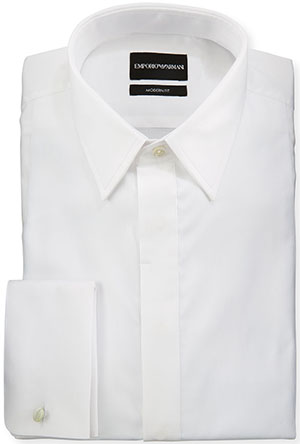 Armani Coleezioni Men's Modern Fit Basic Tuxedo Shirt with Point Collar & French Cuffs: US$345.
