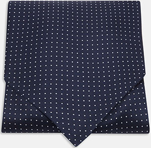 Turnbull & Asser Navy & White Small Spot Silk Ascot Tie: €155.