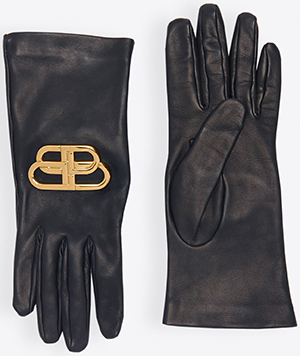 Balenciaga BB women's Gloves in black lambskin and aged-gold BB logo: US$895