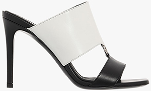 Balmain women's White and black leather Paola mules.