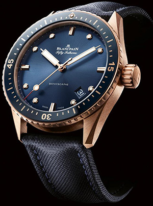 Blancpain Fifty Fathoms Bathyscaphe with blue dial and Sedna red gold.