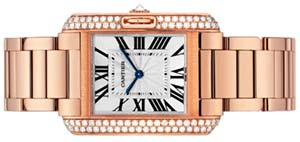 Cartier Tank Anglaise women's medium model, 18k pink gold, diamonds watch: US$38,200.