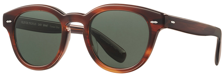 Oliver Peoples Cary Grant Sun - 'The Cary Grant Sun is inspired by the signature style worn by its namesake in the 1959 Hollywood classic North by Northwest. The bold acetate sunglass is distinctive in its aesthetic and features custom details designed to preserve the integrity of Grant's personal': US$475.