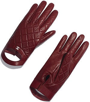 Chanel women's lambskin burgundy gloves: US$950.