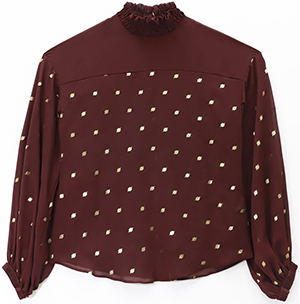 CoStume National Gathered Collar Dot Blouse.