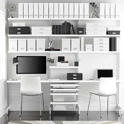 White Elfa Décor Freestanding Office.