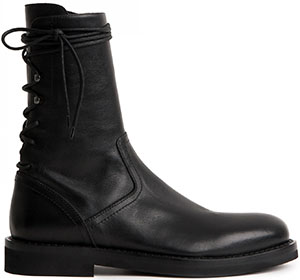 Ann Demeulemeester men's Classic ankle boots in buffed leather with lacing detail at back: US$839.