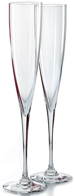 Baccarat Clear Crystal Champagne Flutes, Boxed Pair: US$260.