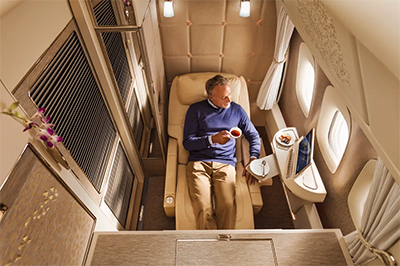 Zero-gravity position in Emirates' new Boeing 776 First Class Suites.