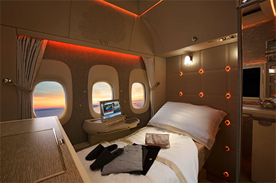 Emirates' new Boeing 777 First Class suite with virtual windows and an inspiration kit.