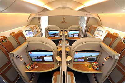 Business Class on the Emirates Airbus A380.