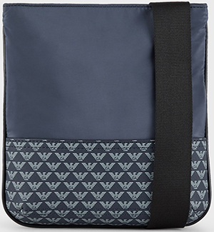 Emporio Armani men's Small, flat, nylon shoulder bag with monogram: US$117.