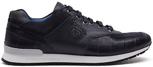 Angelo Galasso uxurious deep blue calf leather, crocodile & suede sneakers: £3,200.