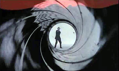 Bob Simmons as James Bond 007 in the gun barrel sequence featured in the movies Dr. No, From Russia with Love, and Goldfinger. Photo: Danjaq and United Artists.