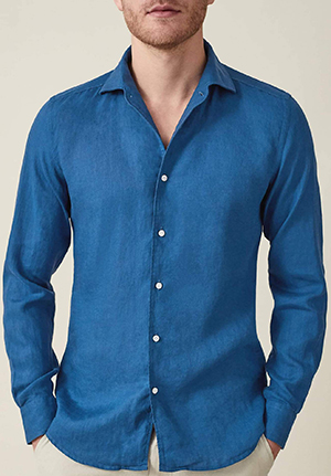 Luca Faloni Royal Blue Portofino men's linen shirt: £130.