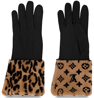 Louis Vuitton women's Leogram Fur Gloves: US$1,380.