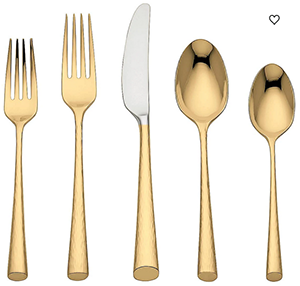Marchesa Gold Imperial Caviar™ 5-piece Flatware Place Setting: US$100.