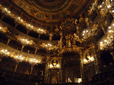 Margravial Opera House's inerior, Opernstraße 14, 95444 Bayreuth, Germany. Photo: Dbopp.