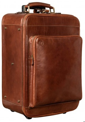 Maxwell Scott The Piazzale Wheeled Leather Trolley Case: US$1,157.