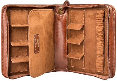 Maxwell Scott The Atella Leather Travel Watch Case: US$234.