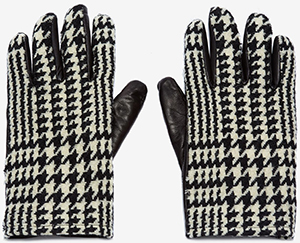 Alexander McQueen men's Houndstooth Leather Gloves: US$325.