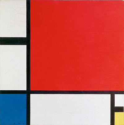 Composition II in Red, Blue, and Yellow by Piet Mondrian (1930).