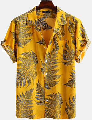 New Chic Mens 100% Cotton Leaf Printed Chest Pocket Turn Down Collar Short Sleeve Shirt: US$19.99.