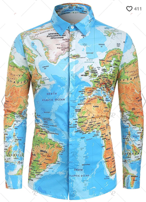 Rosegal men's World Map Print Hidden Button men's Shirt: US$19.38.