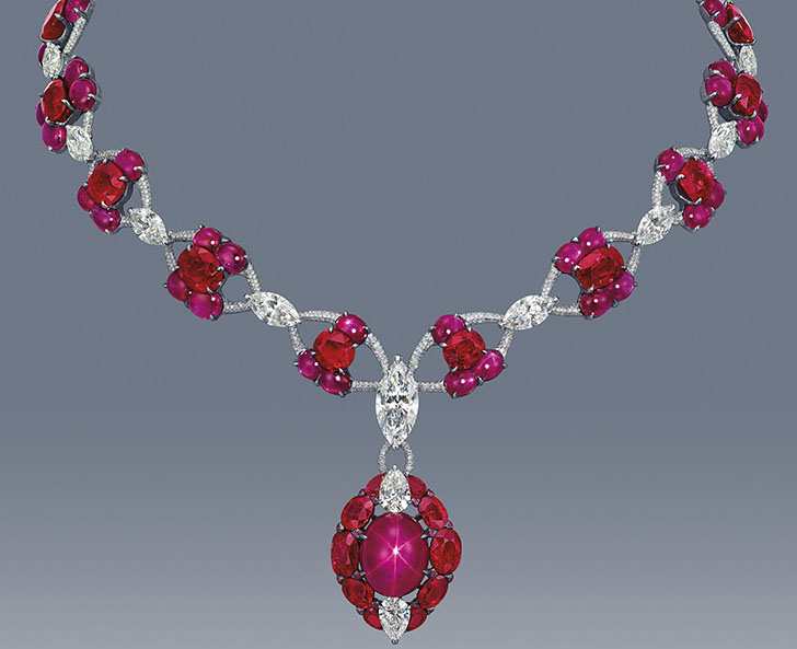 Magnificent Star Ruby & Diamond Necklace created by Hong Kong jewelry designer, Edmond Chin of Etcetera.