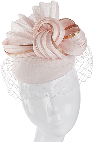 Suzannah London Pink Silk Pill Box Hat with Veil: £595.