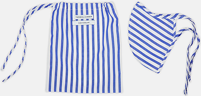 Turnbull & Asser Blue Candy-Striped Cotton Commuter Mask with 3 VIROFORMULA filters: €55.