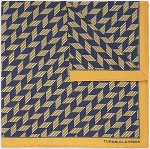 Turnbull & Asser Blue and Gold Arrow Silk Pocket Square: €85.