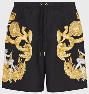 Versace men's Blasone Barocco Print Swim Trunks: US$350.