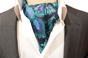 Andrew's Milano Silk Ascot - Navy & Electric Blue Paisley: $44.50 CAD.