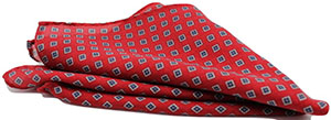 Andrew's Milano Orange with Blue Squares Wool Pocket Square: $49 CAD.