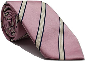 Andrew's Milano Pink with White Stripes Extra Long Necktie: $79.