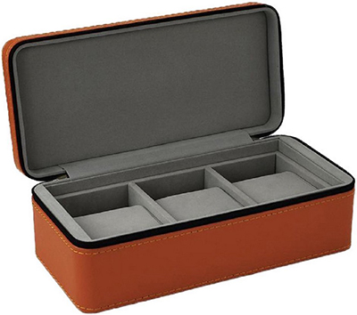 Android 3-Slot Zipper Travel Case Tan Watch Box.