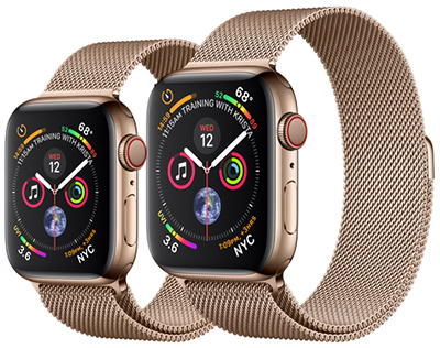 Apple Watches Series 4 Gold Stainless Steel Case with Gold Milanese Loop: US$799 & US$849.