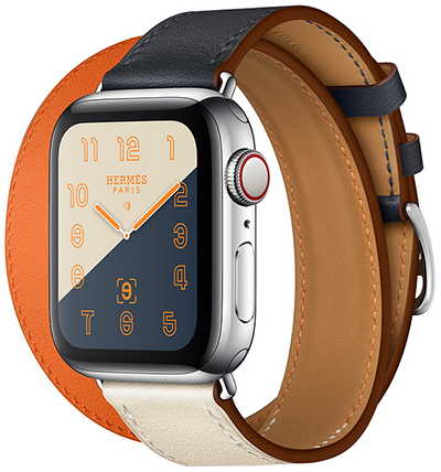 Apple Watch Hermès Stainless Steel Case with Indigo/Craie/Orange Swift Leather Double Tour: US$1,399.