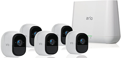 Arlo Pro by NETGEAR Security System with Siren – 5 Rechargeable Wire-Free HD Cameras with Audio, Indoor/Outdoor, Night Vision: US$695.13.