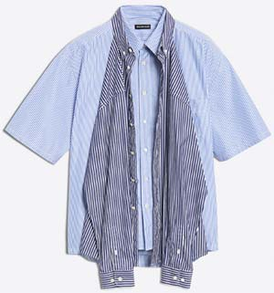 Balenciaga men's Striped short sleeves & long sleeves shirts with two wearing options: US$1,490.