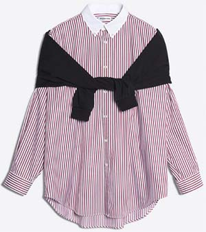 Balenciaga women's Sweater mixed with striped shirt with two wearing options: US$1,290.