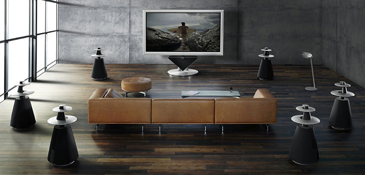 Bang & Olufsen home cinema - 'Surrounded by magnificent sound'.