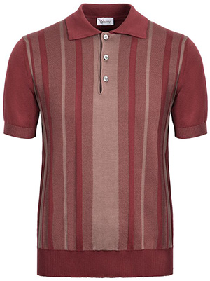 Brioni bordeaux cotton and silk polo shirt with striped jacquard two-tone trim on the front: US$1,100.
