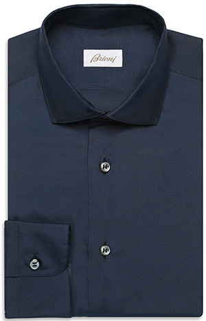 Brioni Navy-blue silk shirt with a French collar and round single cuff: US$925.