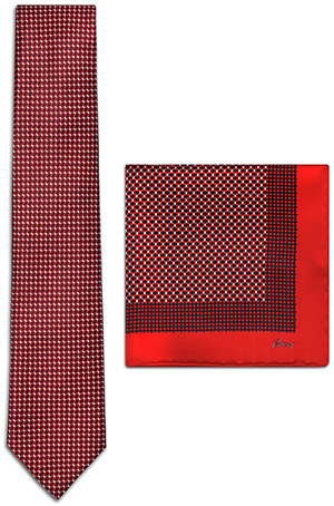 Brioni red and midnight blue silk tie set with a geometric micro-design tie & a red-bordered pocket square: US$330.