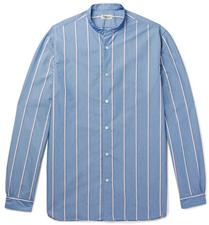 Camoshita Grandad-Collar Striped Cotton-Blend Shirt: €324.