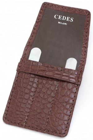 CEDES Milano 3 Pocket Brown Crocodile Collar Stay Holder: US$175.
