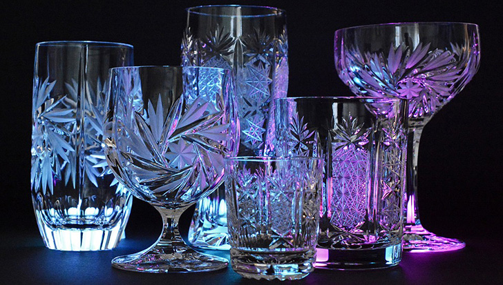 Lead glasses, commonly called crystal, is a variety of glass in which lead replaces the calcium content of a typical potash glass.